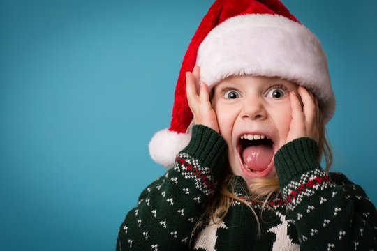 Stressed Little Christmas Girl Yelling in Frustration