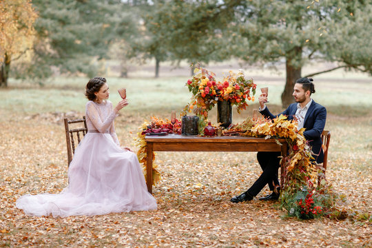 Wedding dinner for two. The autumn wedding.