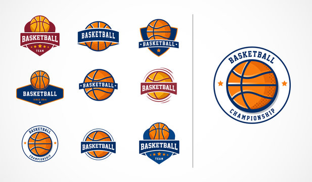 Basketball logo, emblem, icons collections, vector templates