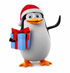 Merry Christmas Penguin with a gift on a white background. 3d render illustration.