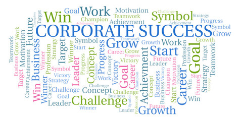Corporate Success word cloud.
