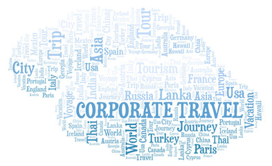 Corporate Travel word cloud.