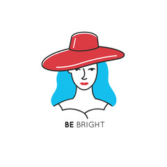 Line style icon template with woman in red hat and blue hair. Fashion symbol for beauty hair salons, cosmetic store.