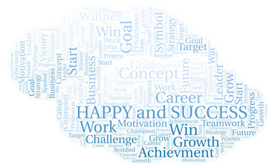 Happy And Success word cloud.