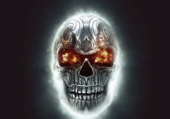 Glowing angry metal demon skull with eyes burning bright - 3D Illustration