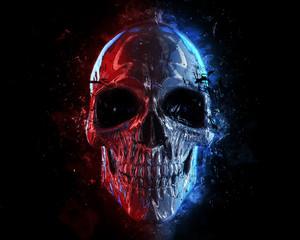 Grunge neon style skull - 3D Illustration