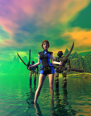 Warrior girl armed with two swords with two robots, 3d illustration