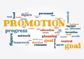Promotion business topic Collage of words on light background Vector illustration