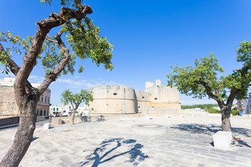 Otranto, Apulia - Marketplace in front of the historic city wall of Otranto