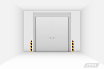 Warehouse workshop and security steel door, Vector, Illustration.