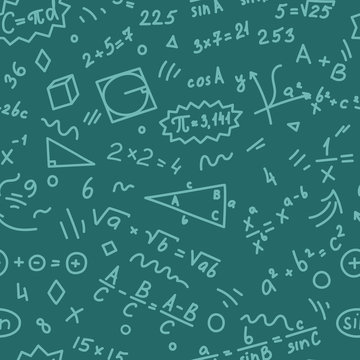 Pattern from mathematics doodles on teal background. Education vector illustration.