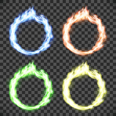 Ring on fire. Set of circle flame patterns isolated on transparent background.