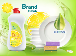 Dishwashing liquid soap with lemon. Packaging with template label design.