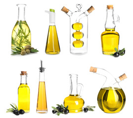 Different bottles with olive oil on white background