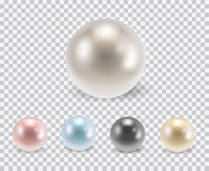 Vector set of beautiful colorful shiny pearls with shadows isolated on transparent background