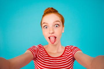 Self-portrait of nice crazy foolish playful pretty ecstatic chee