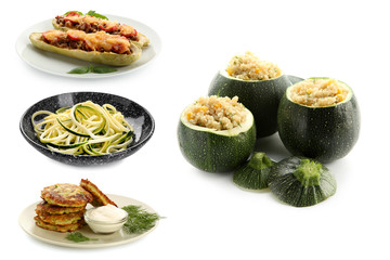 Different tasty dishes with zucchini on white background