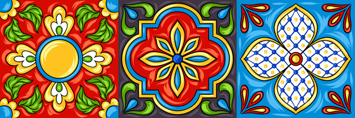 Mexican talavera ceramic tile pattern.
