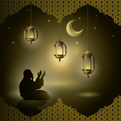 Muslims pray at night with sparkles and lanterns, moon, stars and ornaments of illustrated Islam