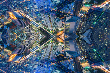 Abstract city aerial view.
