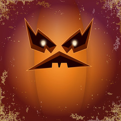 Halloween cartoon scary pumpkin with face . Vector cartoon Illustration of Carved pumpkin into jack-o-lanterns for halloween banners and posters and layout.