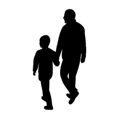 silhouette man and child