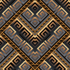 Meanders vector 3d seamless pattern. Abstract geometric ornament