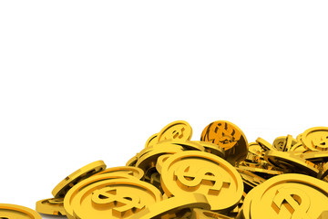 Bunch or pile of illustrative gold coin, background isolated on white. Rendering, illustration, business & creative.