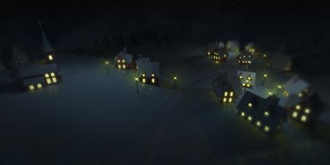 traditional winter mountain village at winter calm night, winter seasonal 3D illustration background