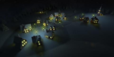 illuminated mountain resort at winter calm night, winter seasonal 3D illustration background