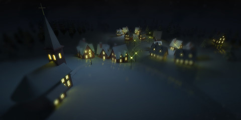illuminated village at winter calm night with church, winter seasonal 3D illustration background