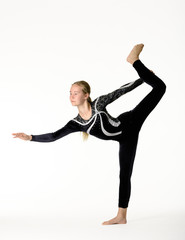 Young teen girl gymnastic on white background