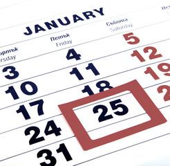 Closeup calendar page.