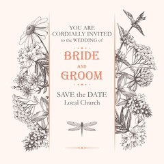 Vector elegant wedding card with meadow flowers