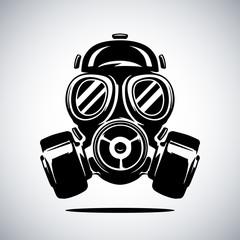 Gas mask vector illustration isolated on white. Respirator vector illustration