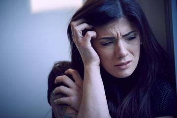 portrait of a fearful woman