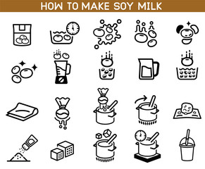 how to made soybean milk icon. Asian Cuisine ingredient. Soy milk processing.