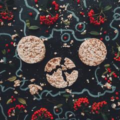 Flat lay crunchy rice cakes