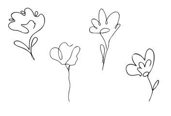 Four flowers on the white background, one continuous line, black outline art, floral vector elements, set of four objects