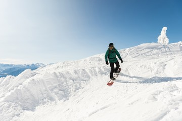Skier skiing on a snowy mountain