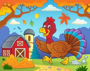 Running turkey bird theme image 4