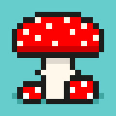 Pixel art, digital mushroom, big and small red amanita, flat web icon, vector design retro object