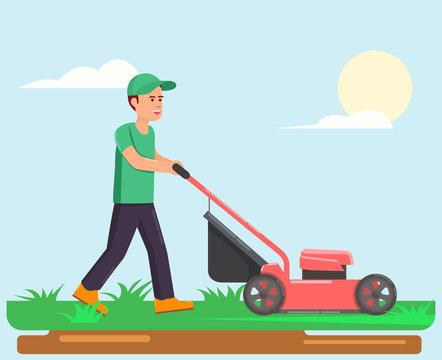 Man with lawn mower cartoon