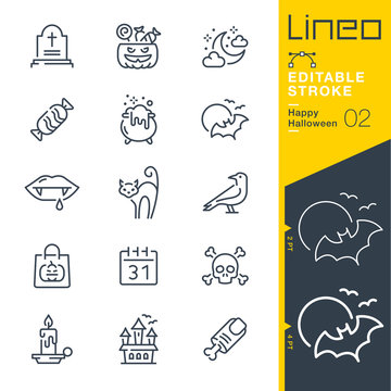 Lineo Editable Stroke - Happy Halloween line icons