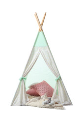 Cozy play tent for kids on white background