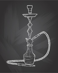 Shisha, hookah hand drawn doodle vector .Illustration isolated on chalkboard for hookah bar or lounge. vector illustration of hookah with smoking pipe, hubble bubble, oriental bar.