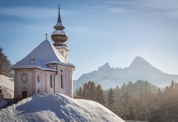 Maria Gern chapel with watzmann at Berchtesgadener Land, Bavaria, Germany