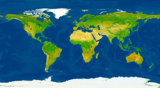 XXL size physical world map illustration. Primary source, elements of this image furnished by NASA.