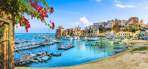 Photo on textile frame Palermo Sicilian port of Castellammare del Golfo, amazing coastal village of Sicily island, province of Trapani, Italy