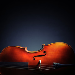 Cello on black background with copy space for classical music album or cd cover
